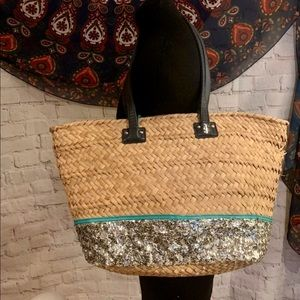 Juicy couture large sequin & wicker tote beach bag